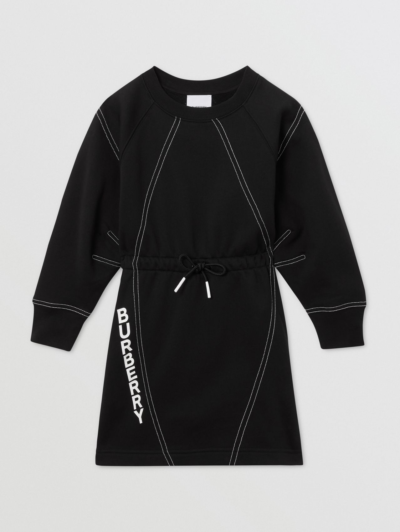 Long-sleeve Logo Print Cotton Dress in Black