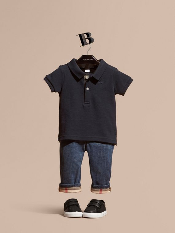 Cotton Piqué Polo Shirt in True Navy | Burberry