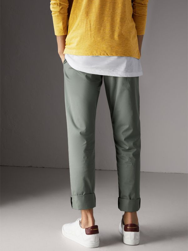 Slim Fit Cotton Chinos in Grey Blue - Men | Burberry - cell image 2