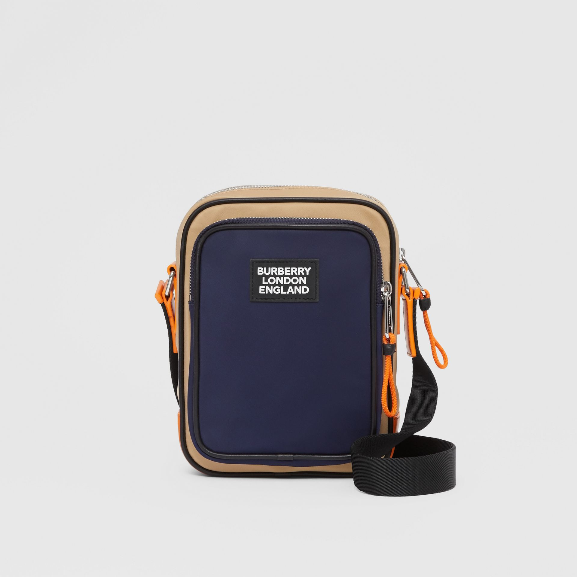 Logo Appliqué Two-tone ECONYL® Crossbody Bag in Regency Blue/bright Orange - Men | Burberry United Kingdom - gallery image 0