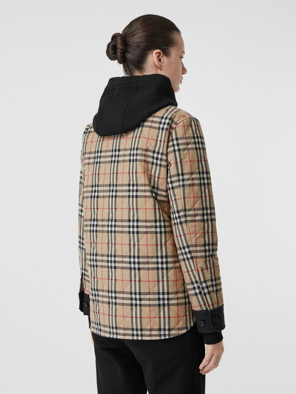 Vintage Check Wool Flannel Overshirt in Archive Beige - Women | Burberry United States - cell image 2