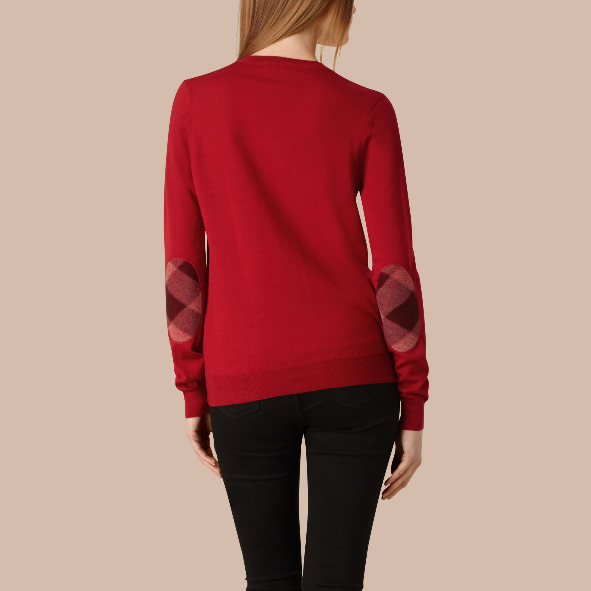 Check Detail Merino Wool Crew Neck Sweater in Parade Red - Women | Burberry - gallery image 3