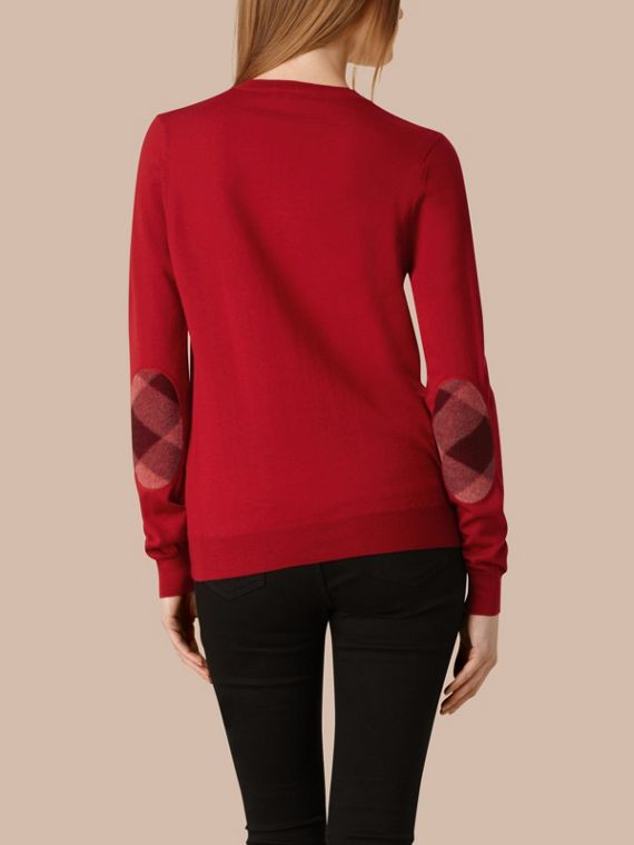 Check Detail Merino Wool Crew Neck Sweater in Parade Red - Women | Burberry - cell image 2