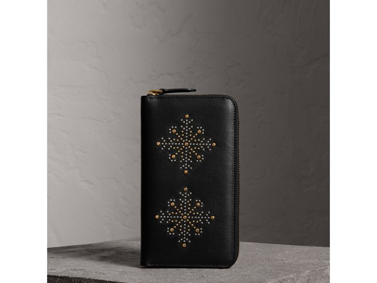 Riveted Leather Ziparound Wallet in Black - Men | Burberry - cell image 4