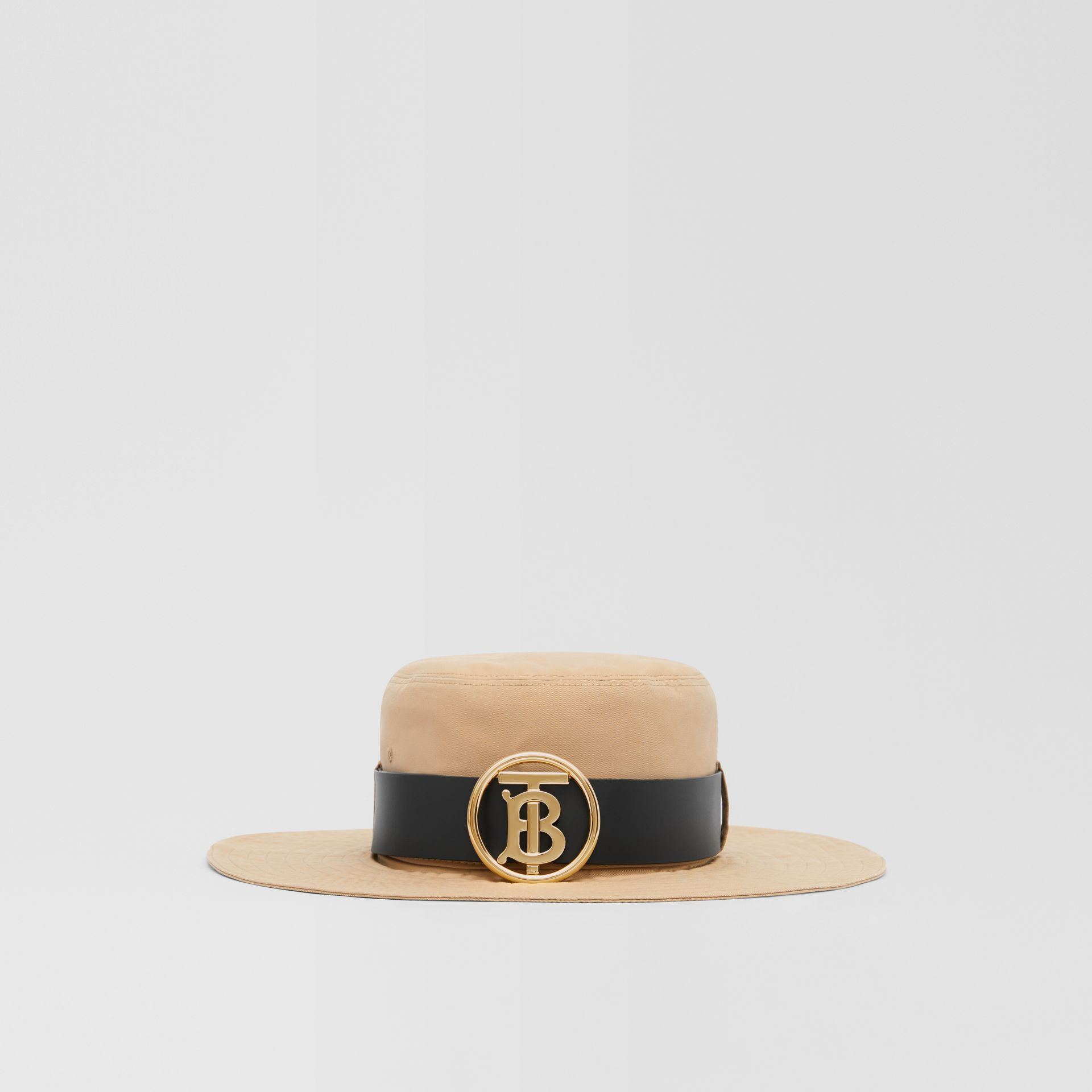 Monogram Motif Leather Belt Detail Cotton Desert Hat in Honey | Burberry Canada - gallery image 4