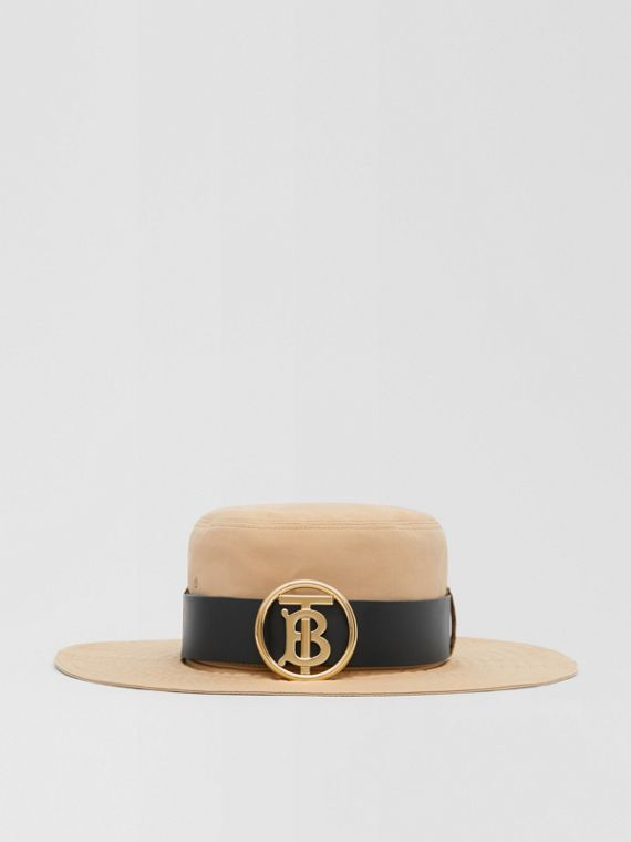 Monogram Motif Leather Belt Detail Cotton Desert Hat in Honey