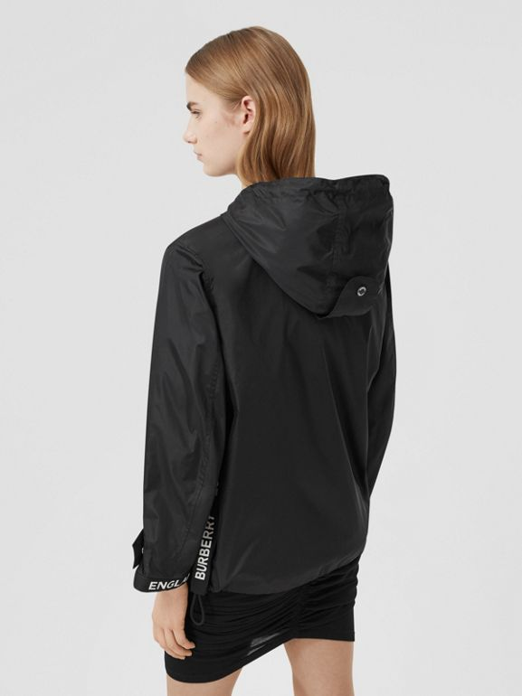Logo Tape ECONYL® Hooded Jacket in Black - Women | Burberry United States - cell image 1