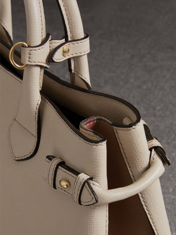 The Medium Banner in Leather and House Check in Limestone - Women | Burberry United Kingdom - cell image 1