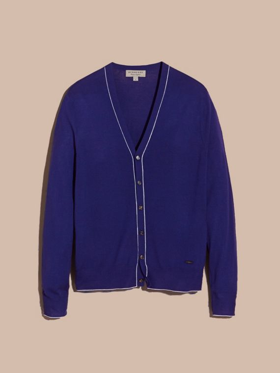 Bright navy V-neck Merino Wool Cardigan - cell image 3