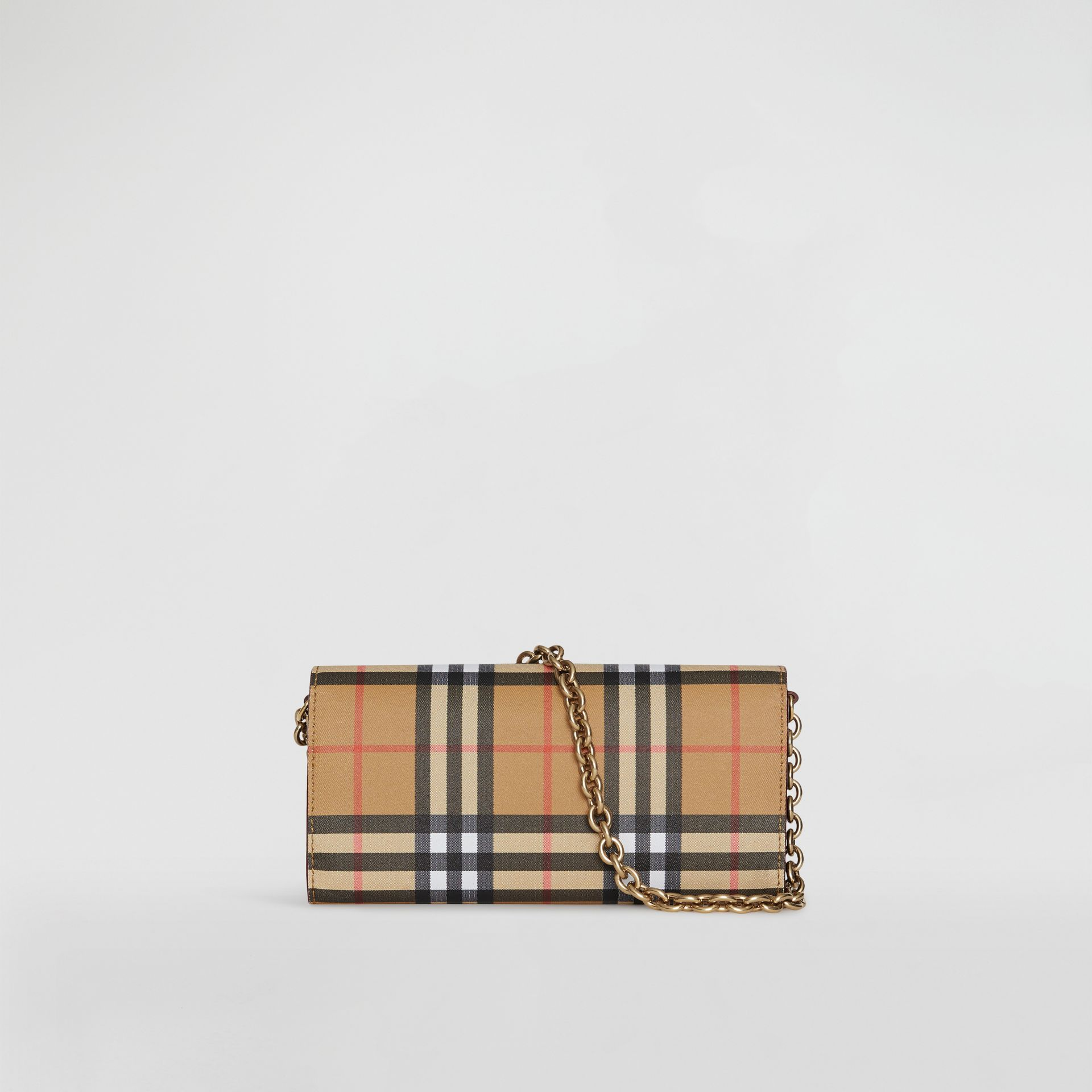 Vintage Check and Leather Wallet with Detachable Strap in Crimson - Women | Burberry Singapore - gallery image 7