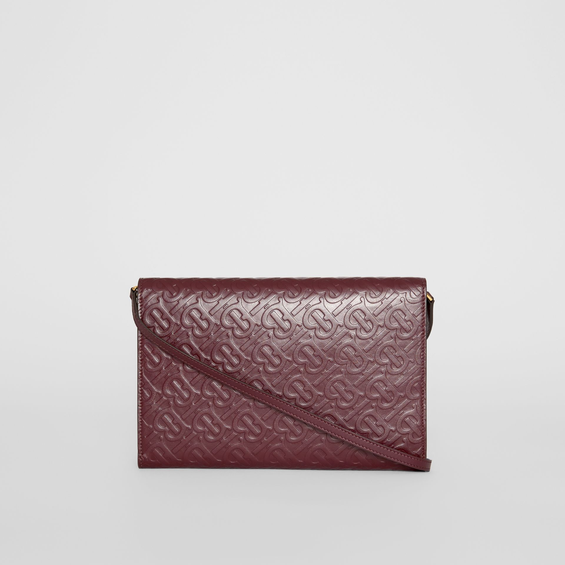 Small Monogram Leather Bag with Detachable Strap in Oxblood - Women | Burberry - gallery image 5