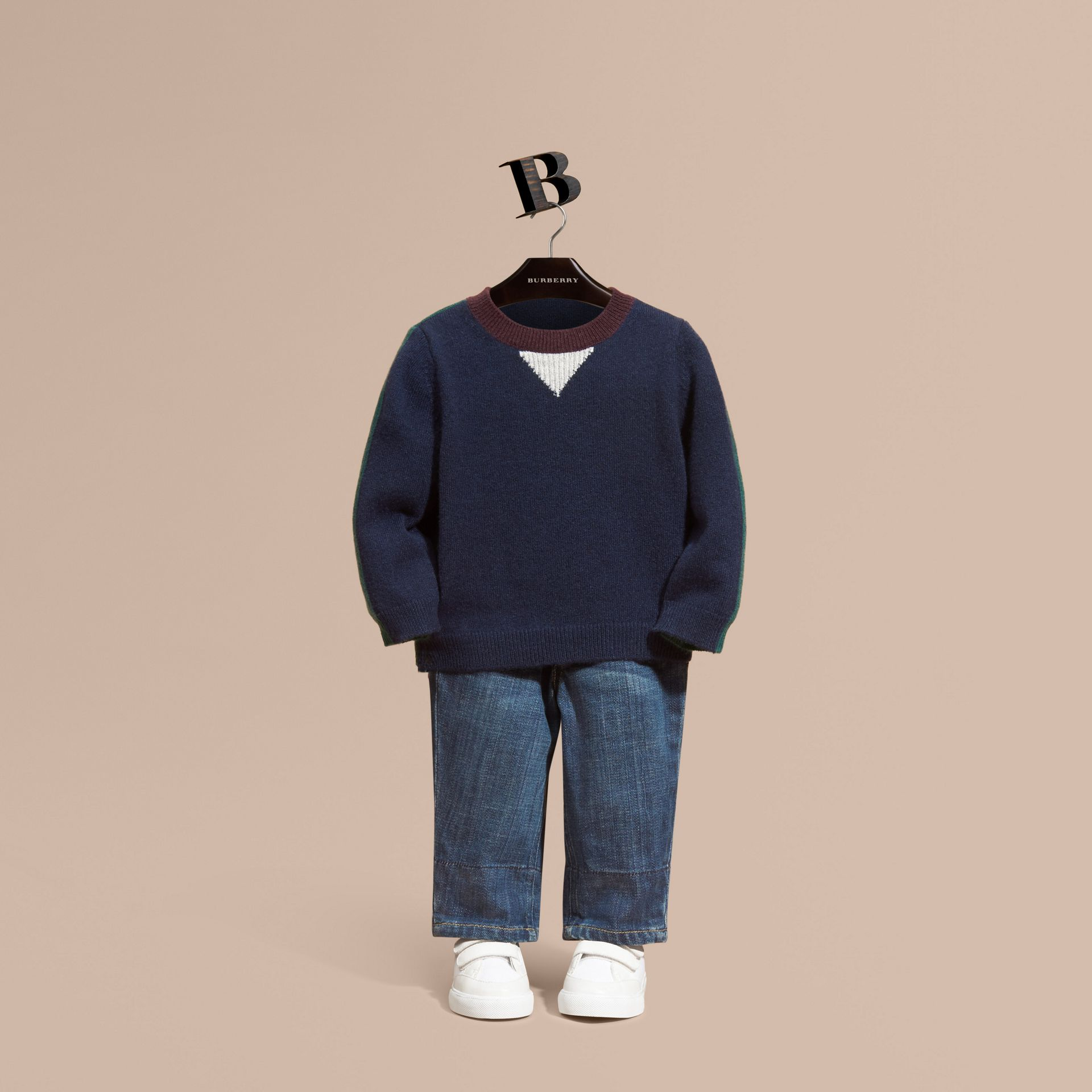 Navy Colour Block Cashmere Sweater - gallery image 1