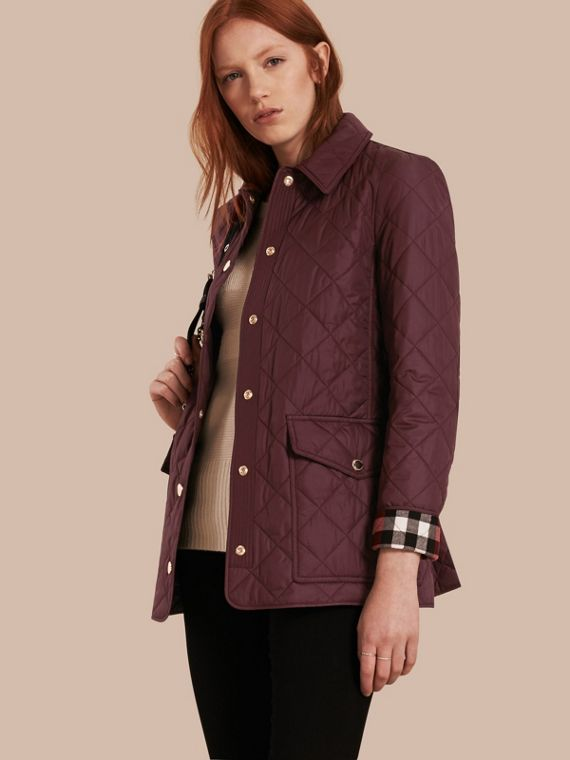 Check Lined Diamond Quilted Jacket Burgundy