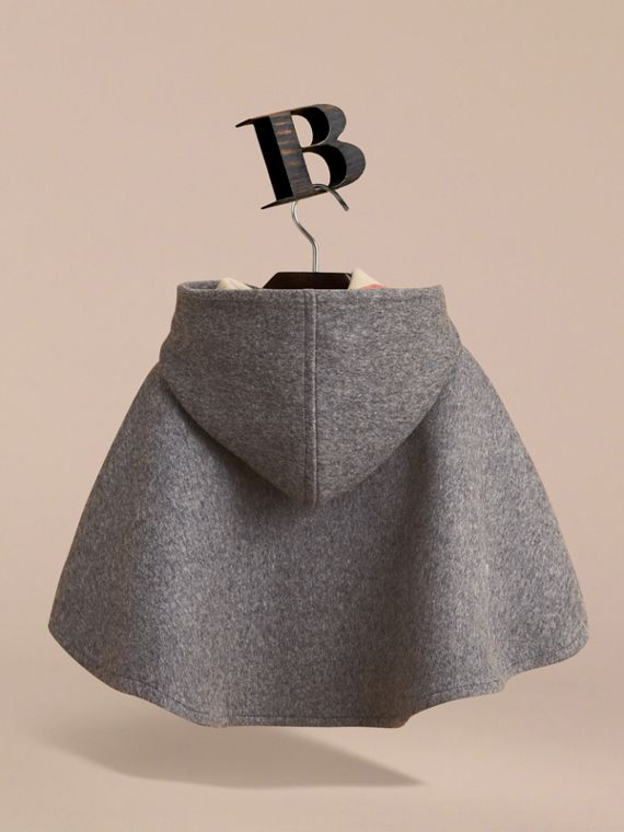 Hooded Check Detail Wool A-line Cape in Mid Grey Melange | Burberry - cell image 3