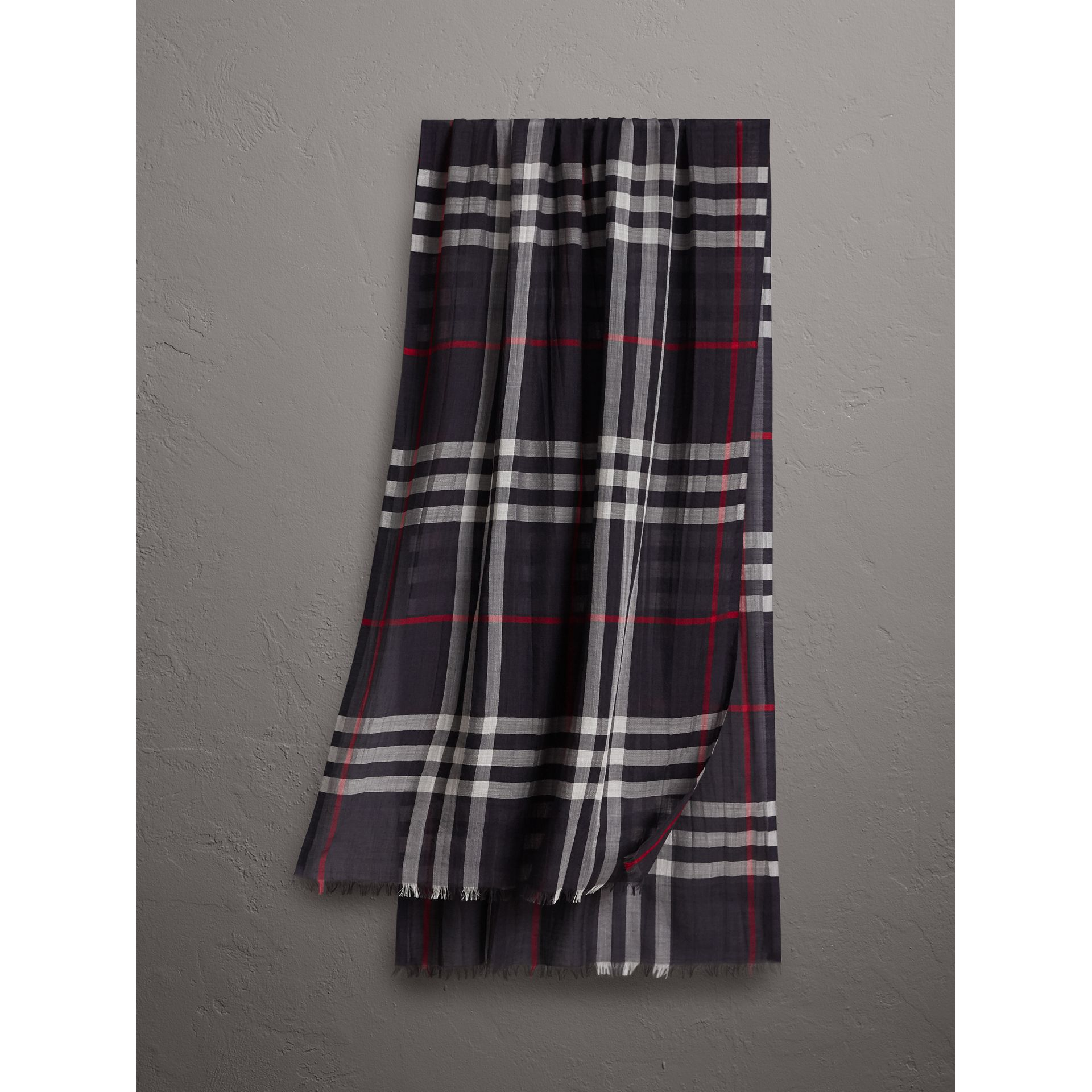 Lightweight Check Wool and Silk Scarf in Navy | Burberry United States - gallery image 1
