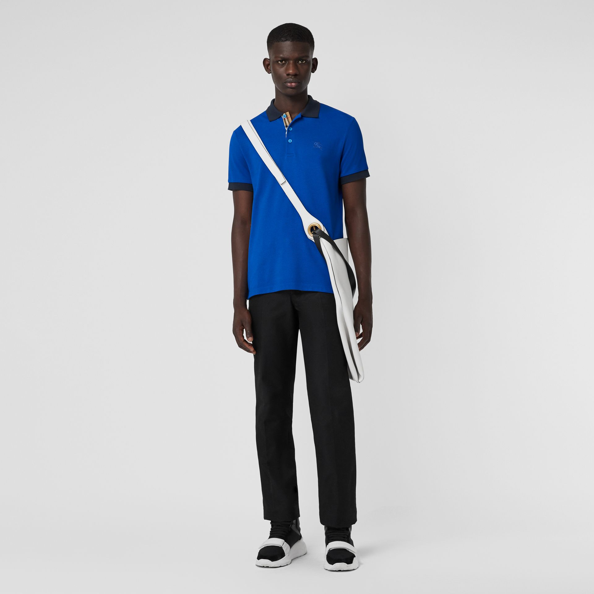 Contrast Collar Cotton Polo Shirt in Cerulean Blue - Men | Burberry United Kingdom - gallery image 0