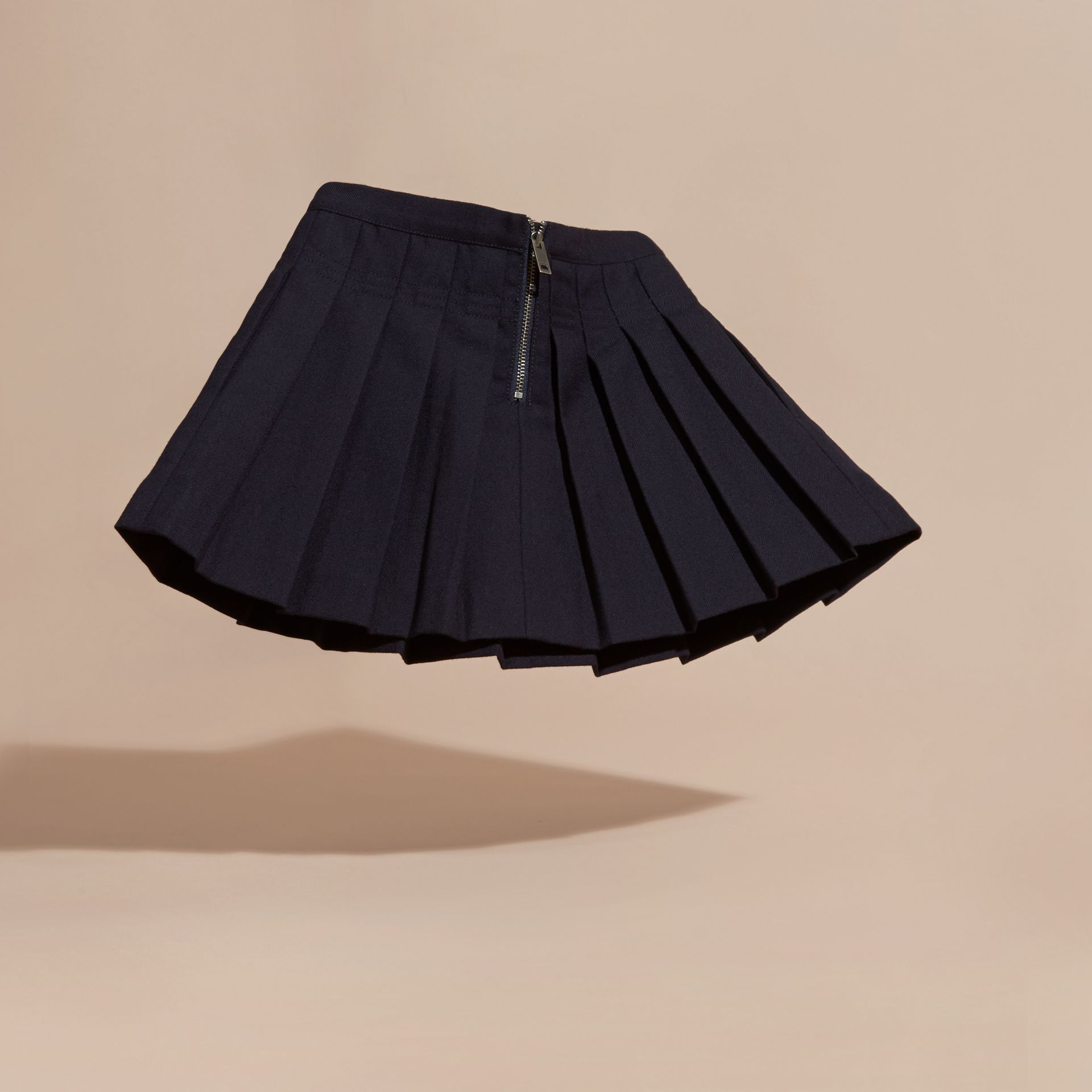 Navy Pleated Wool Skirt - gallery image 4