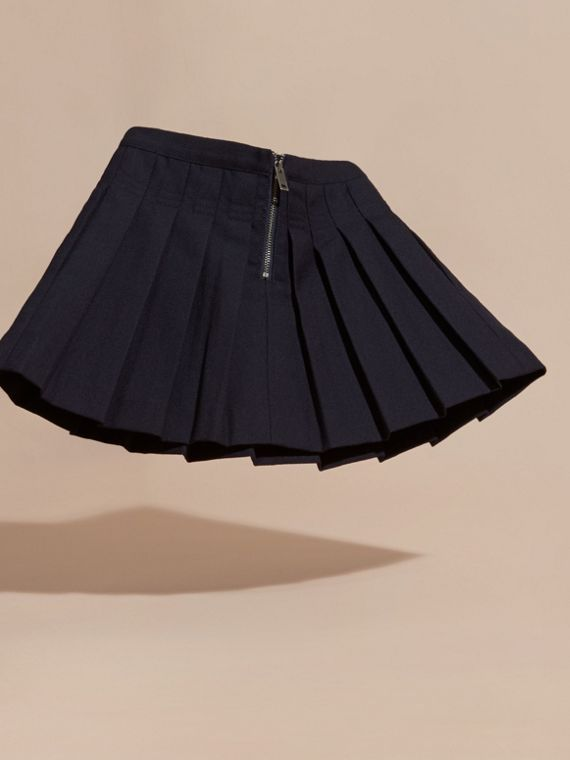 Navy Pleated Wool Skirt - cell image 3