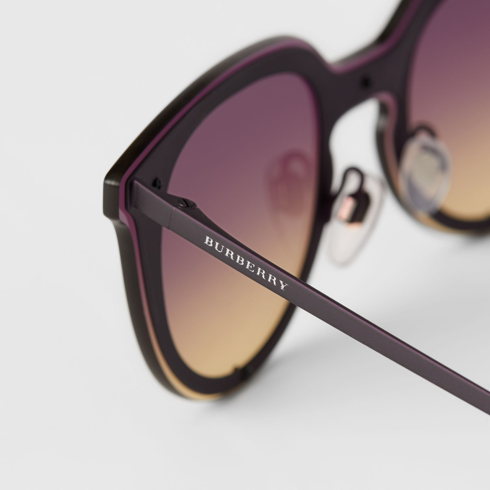 Keyhole Round Frame Shield Sunglasses in Purple - Women | Burberry - gallery image 1