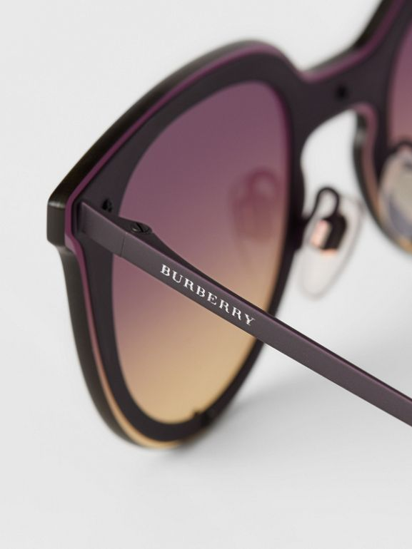 Keyhole Round Frame Shield Sunglasses in Purple - Women | Burberry United States - cell image 1