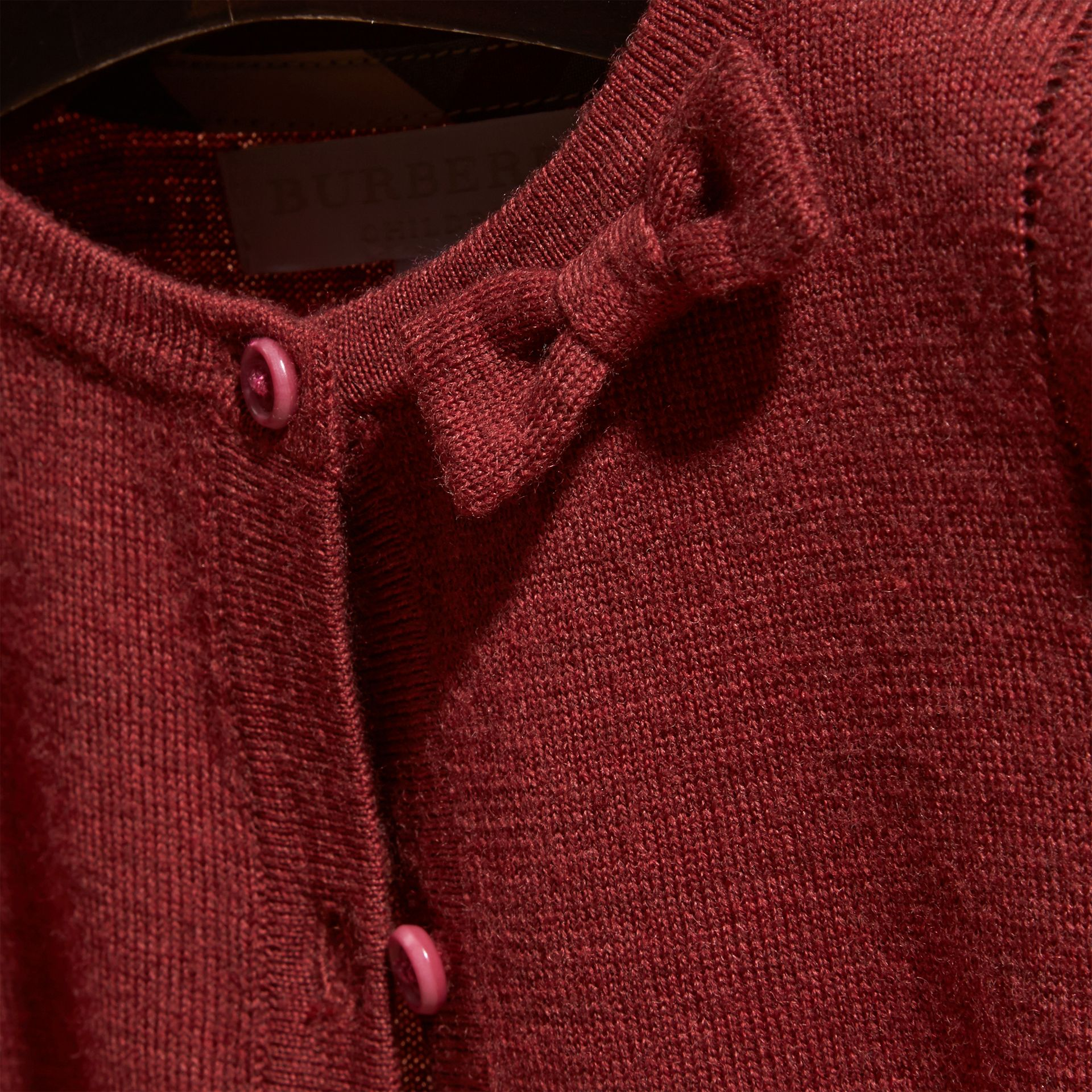 Dark plum pink Lightweight Merino Wool Cardigan Dark Plum Pink - gallery image 2