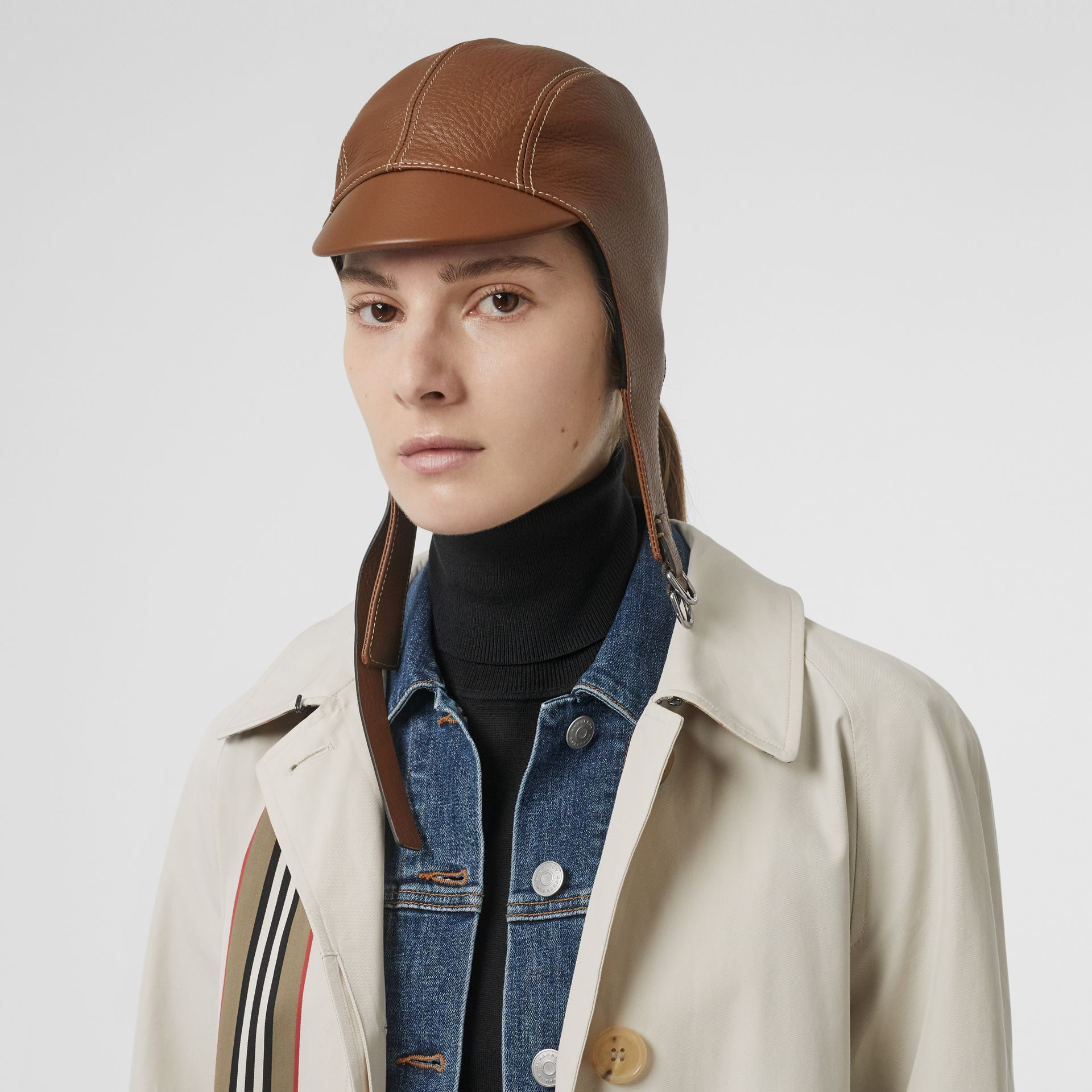 Leather Pilot Cap in Toffee | Burberry United Kingdom - gallery image 2