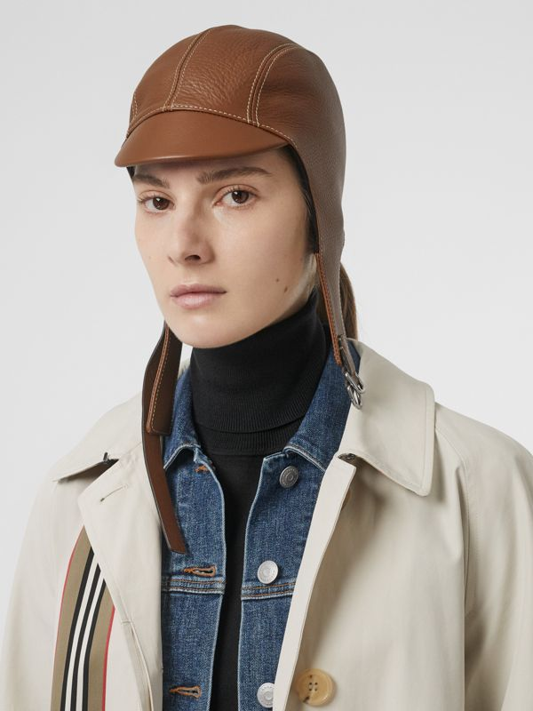 Leather Pilot Cap in Toffee | Burberry United Kingdom - cell image 2