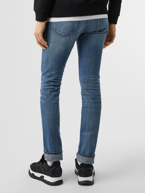 Slim Fit Washed Japanese Selvedge Denim Jeans in Light Indigo - Men | Burberry Canada - cell image 2