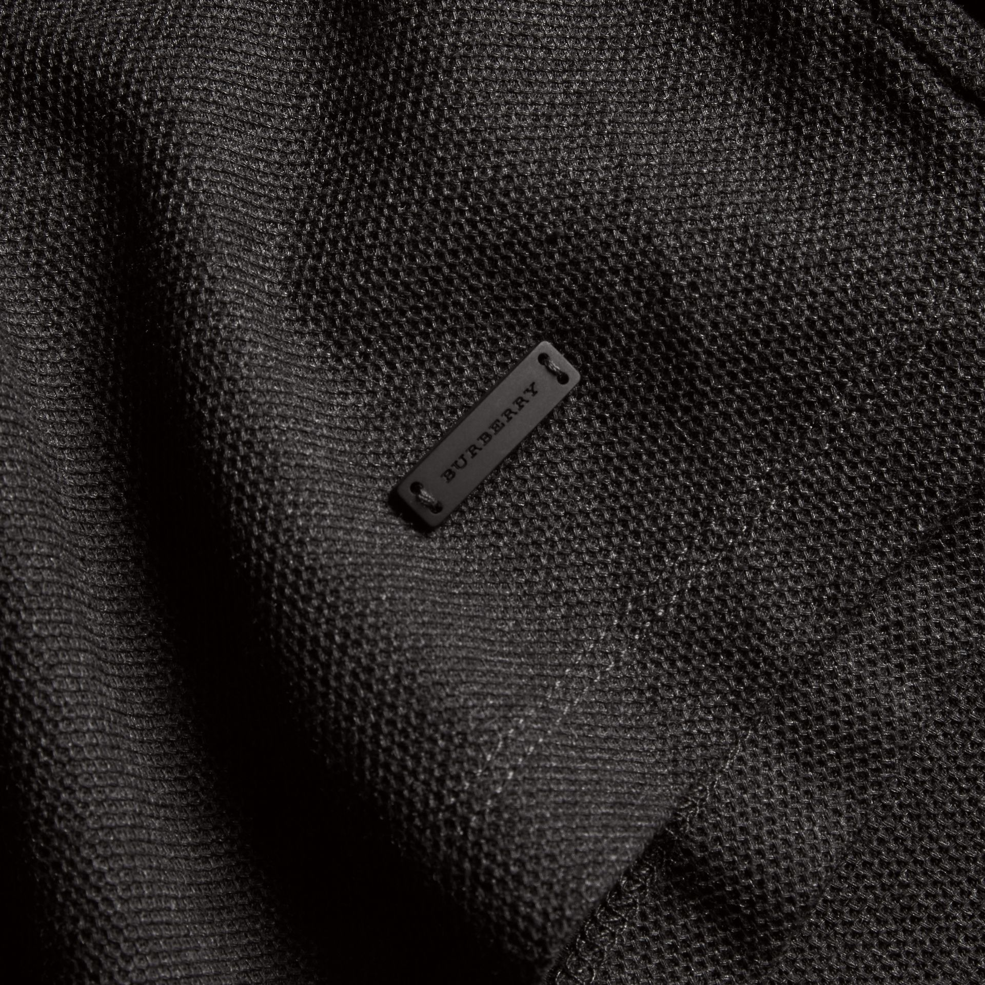 Charcoal Piped Cotton Piqué Polo Shirt Charcoal - gallery image 2