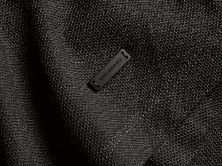 Charcoal Piped Cotton Piqué Polo Shirt Charcoal - cell image 1