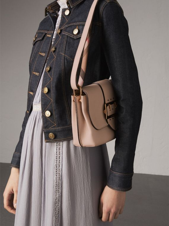 The Buckle Crossbody Bag in Leather in Limestone - Women | Burberry - cell image 3