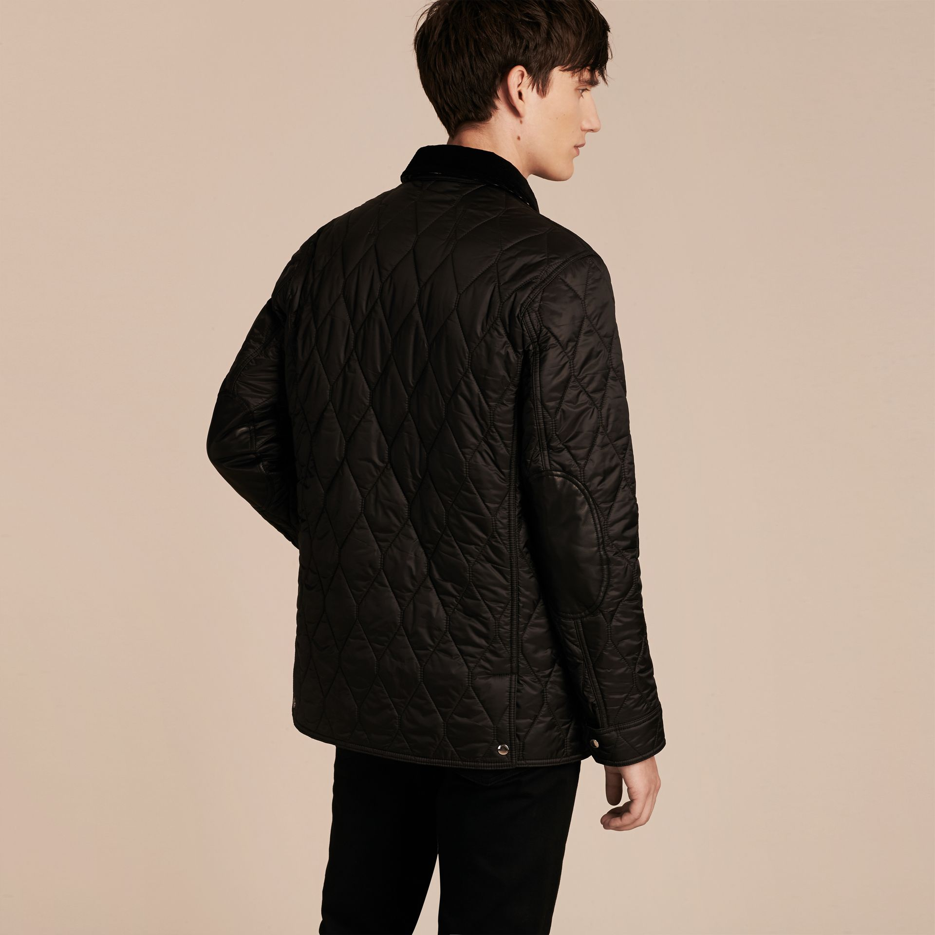 Black Check Detail Quilted Jacket with Corduroy Collar - gallery image 3
