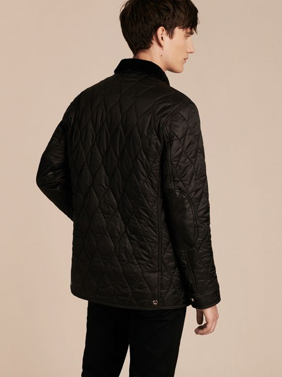 Black Check Detail Quilted Jacket with Corduroy Collar - cell image 2