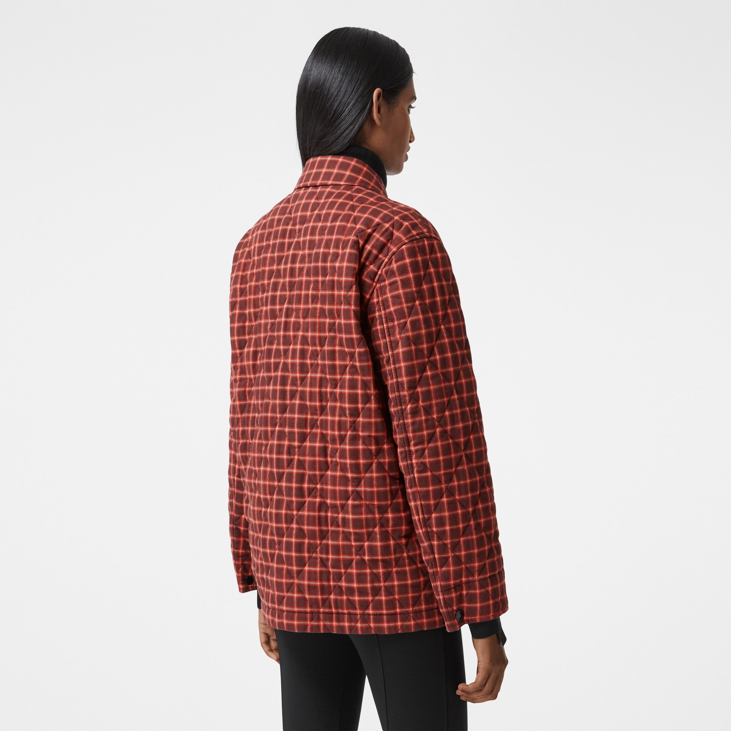 Contrast Pocket Check Cotton Flannel Overshirt in Burgundy - Women | Burberry - 3