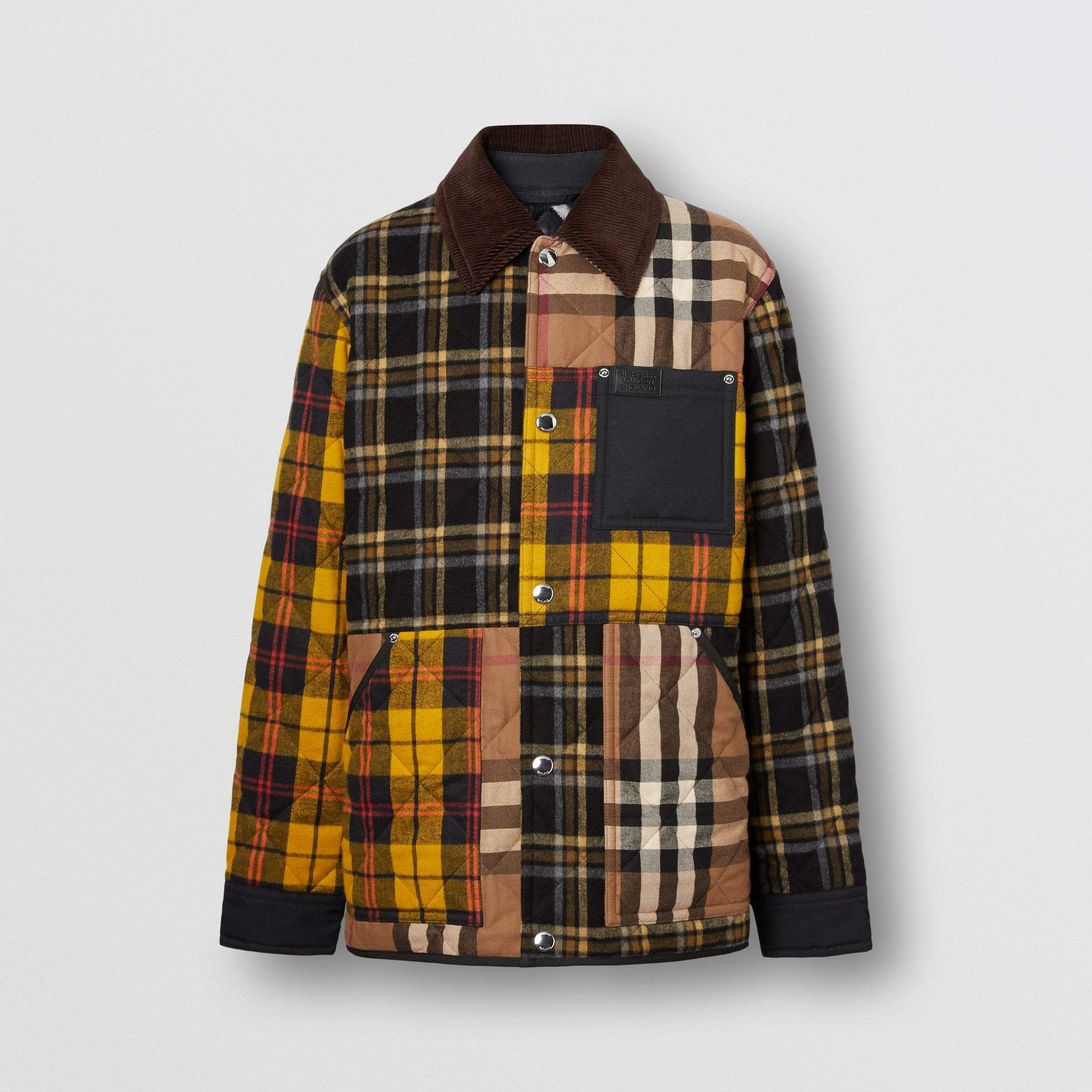 Corduroy Collar Patchwork Check Cotton Overshirt in Birch Brown - Men | Burberry United Kingdom - 4