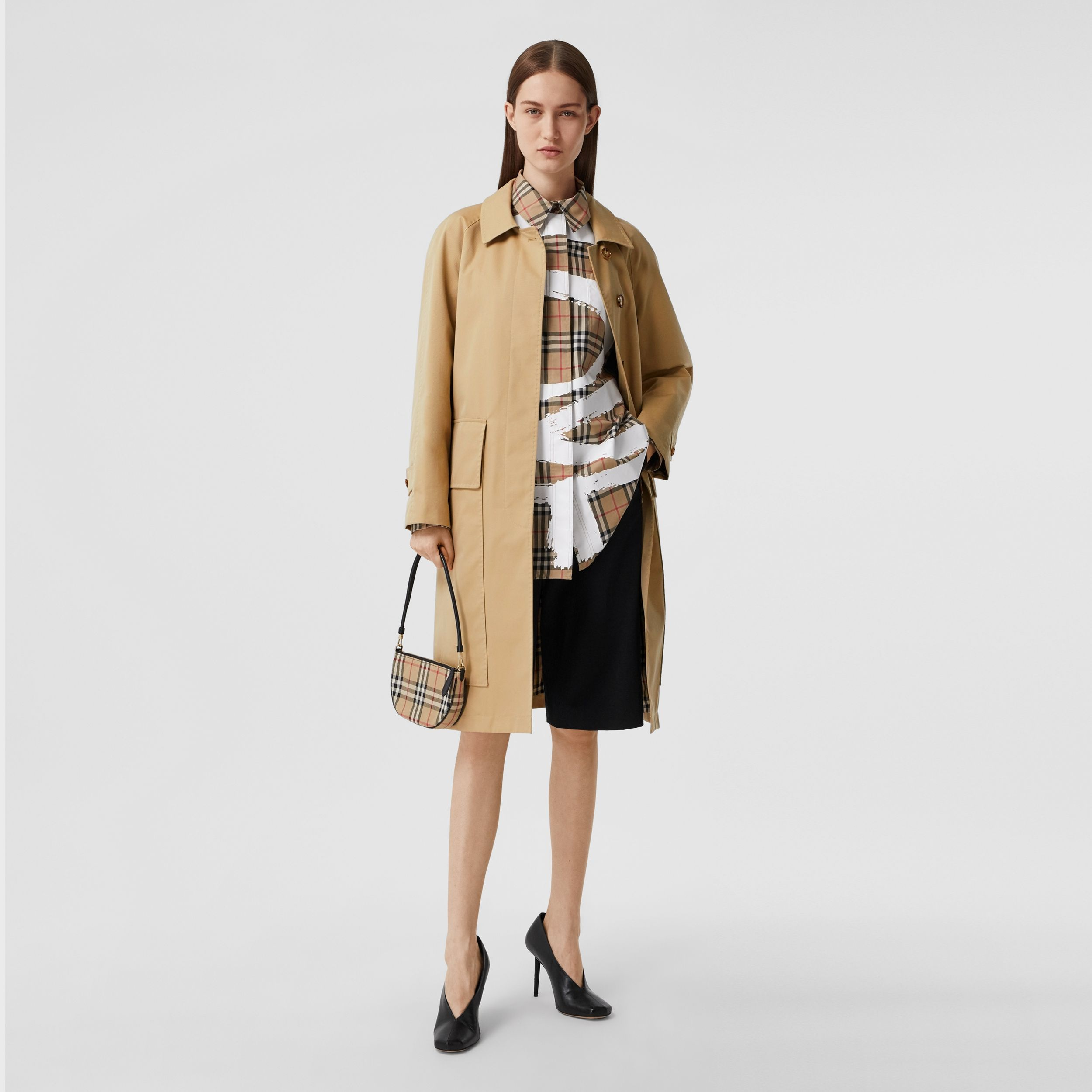 Cotton Gabardine Belted Car Coat in Honey - Women | Burberry - 1