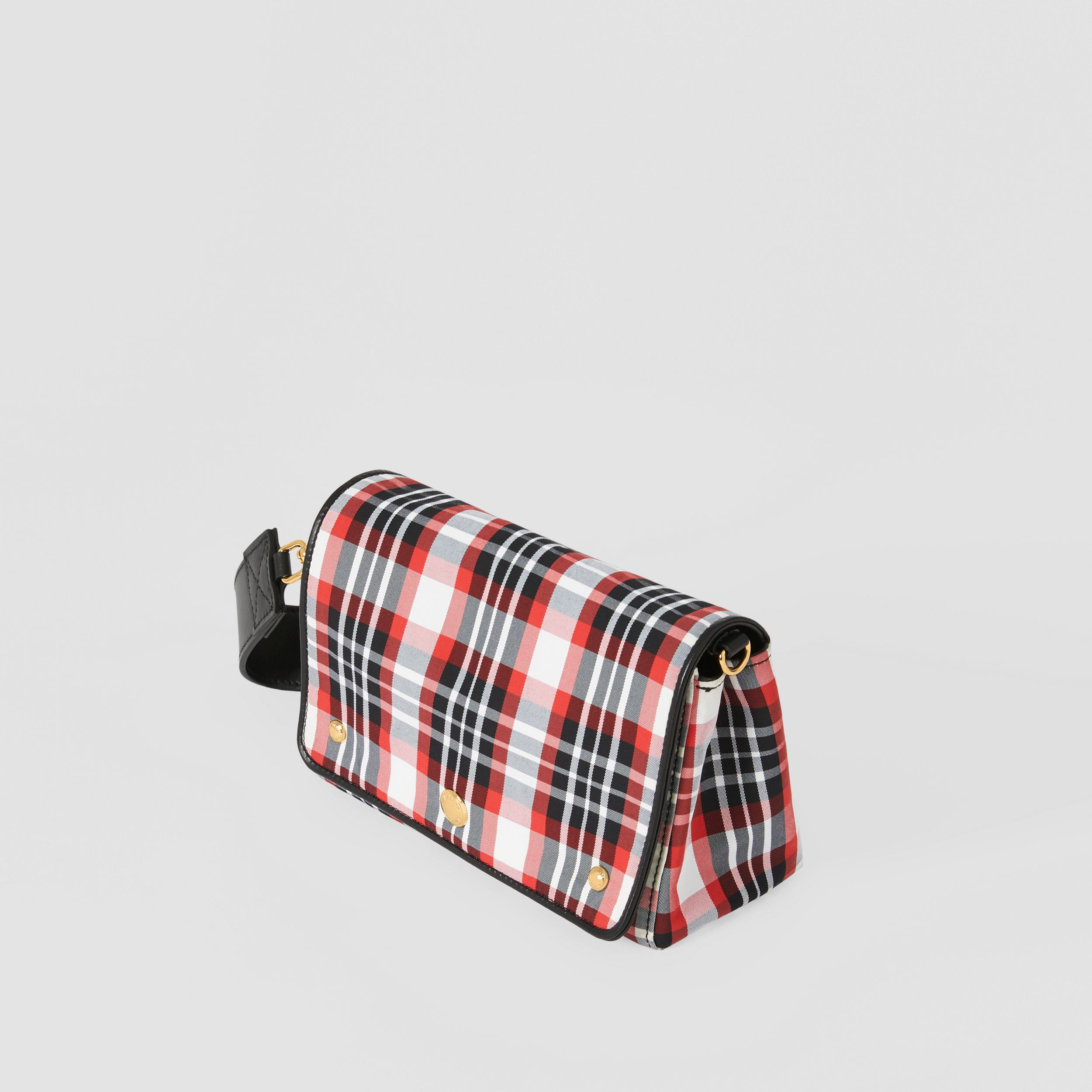 Small Tartan Nylon Crossbody Bag in Bright Red - Women | Burberry - 4