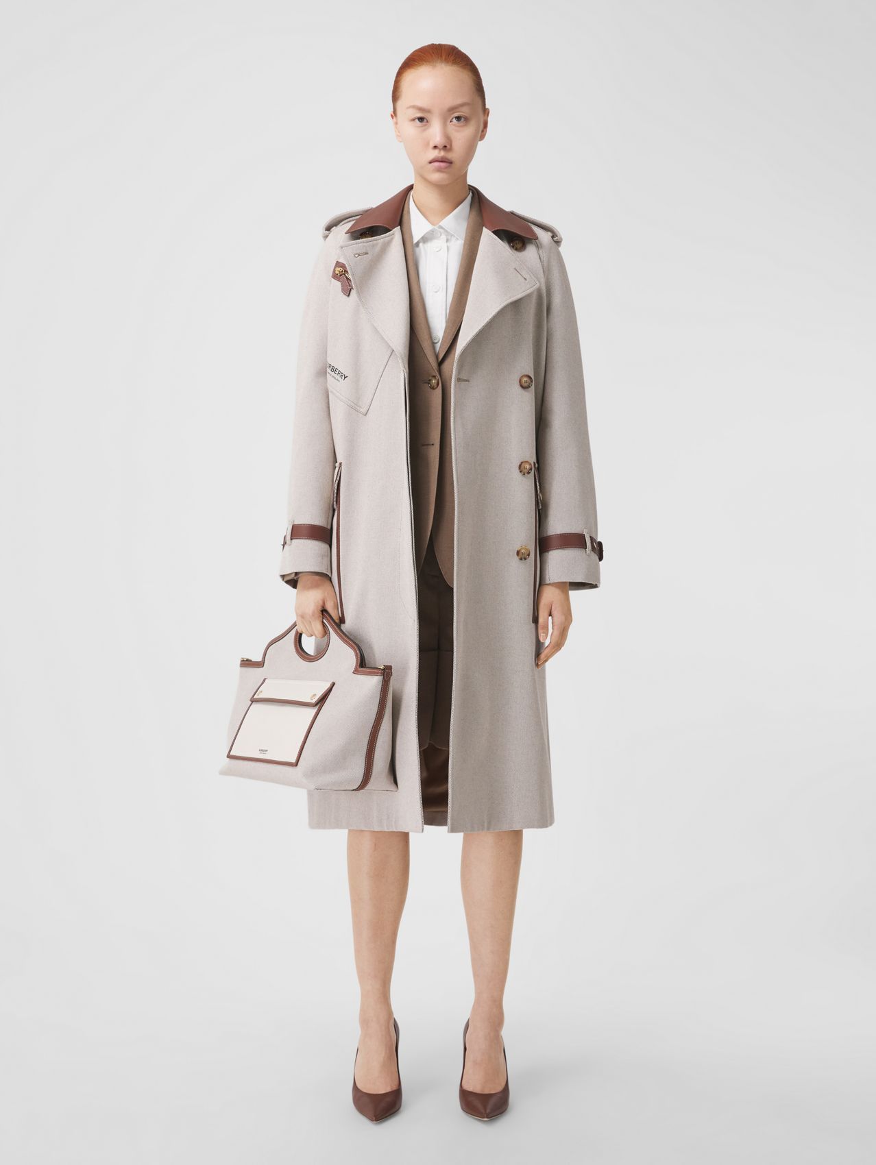 Leather Trim Cotton Canvas Trench Coat in Soft Fawn Melange