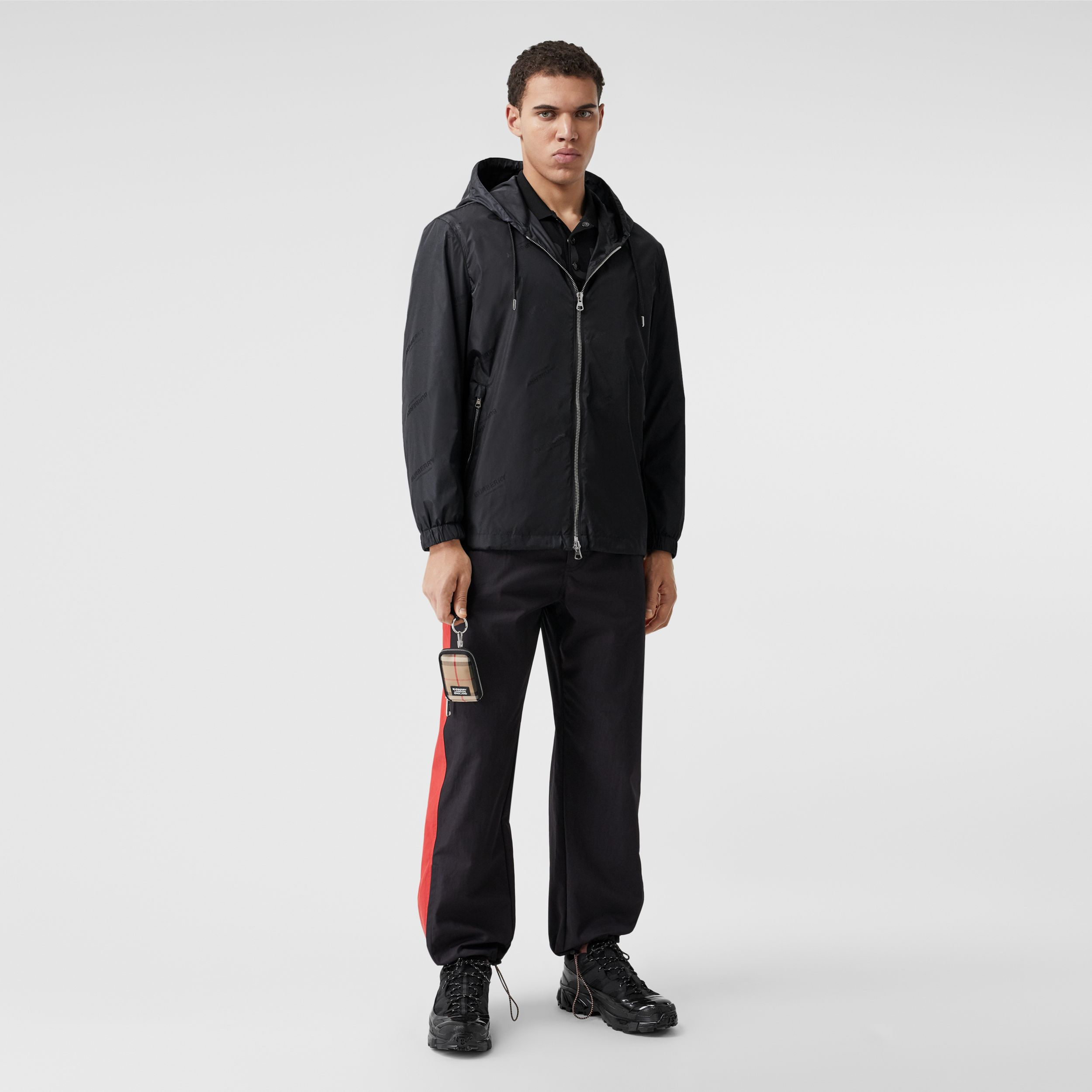 Logo Jacquard ECONYL® Hooded Jacket in Black - Men | Burberry - 1