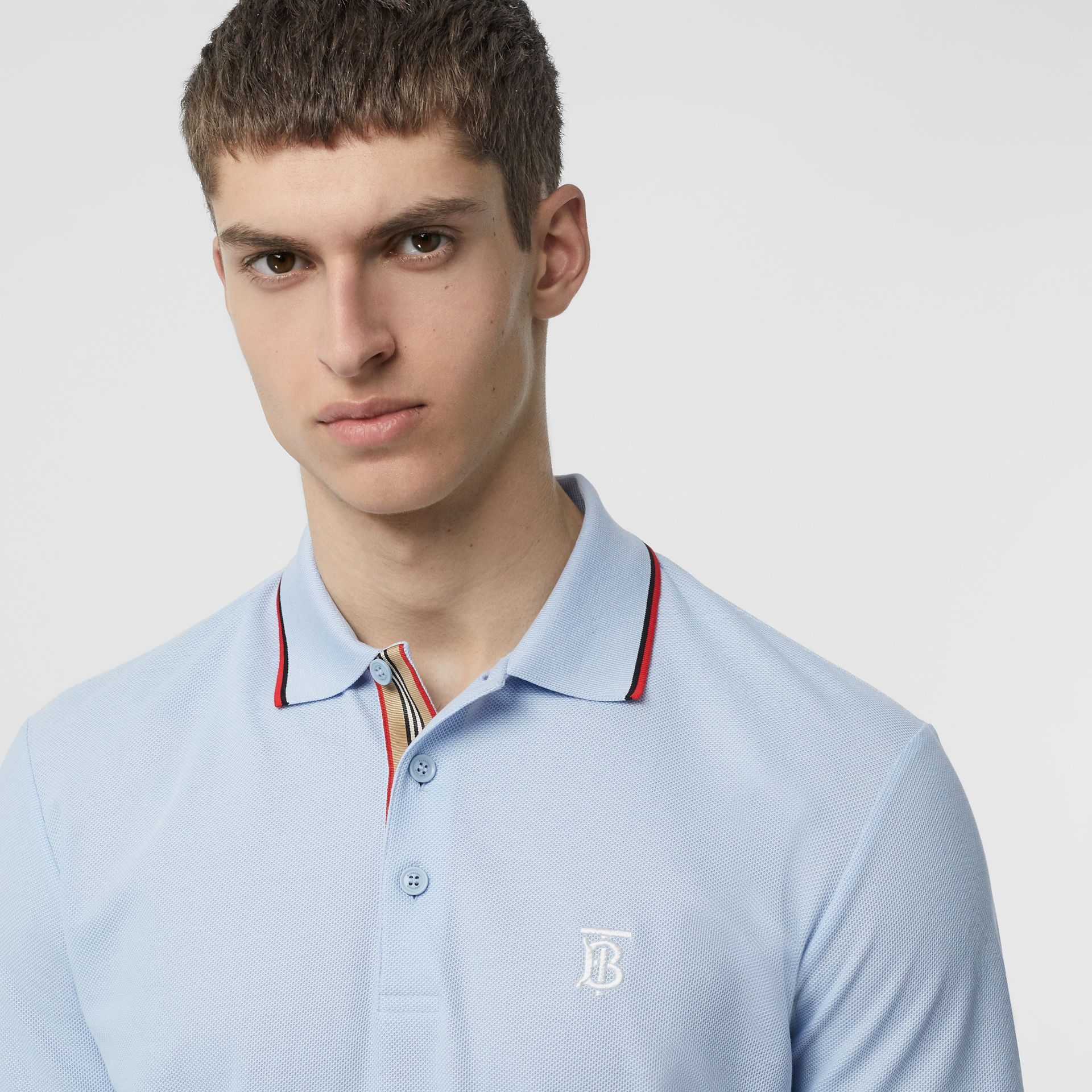 Icon Stripe Placket Cotton Piqué Polo Shirt in Pale Blue - Men | Burberry Canada - gallery image 1