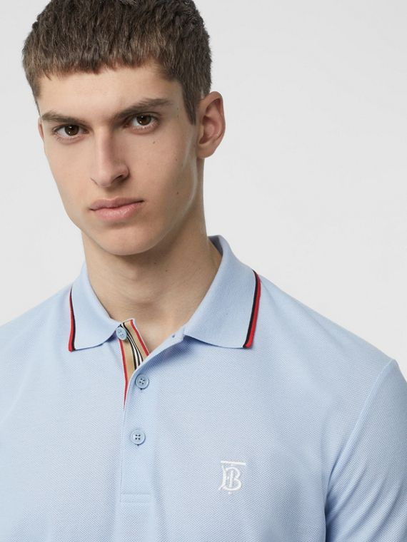 Icon Stripe Placket Cotton Piqué Polo Shirt in Pale Blue