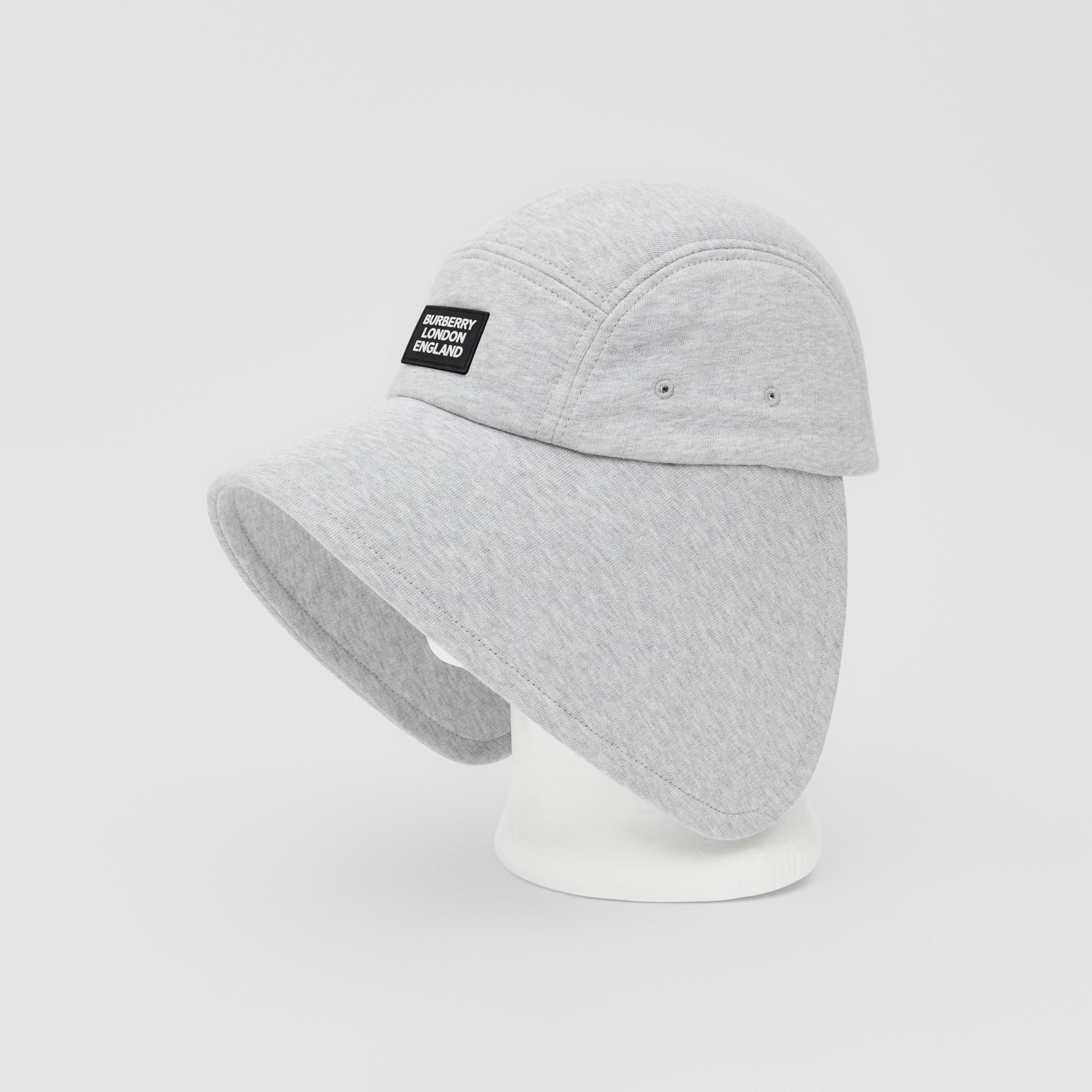 Logo Appliqué Cotton Jersey Bonnet Cap in Light Pebble Grey | Burberry - gallery image 4