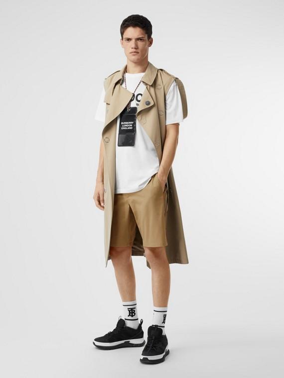 Chino-Shorts aus Baumwolltwill mit Streifendetail (Honiggelb)