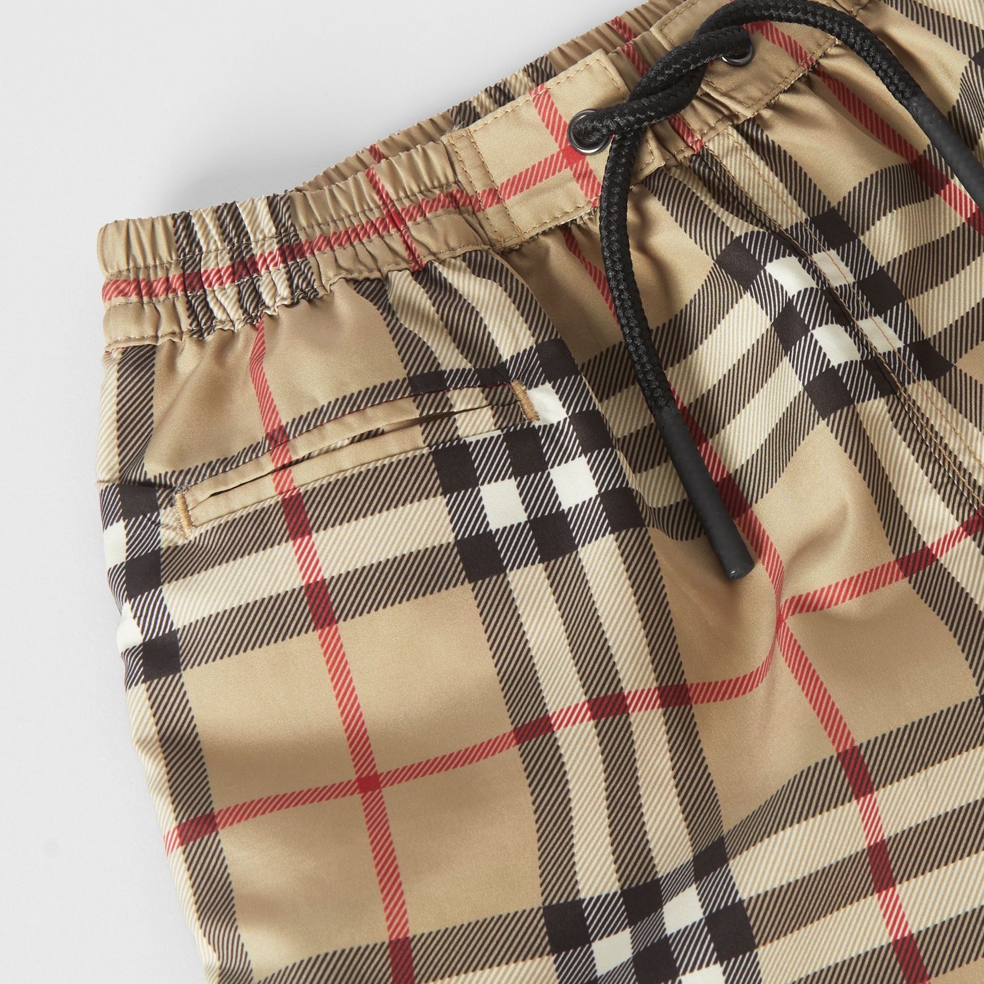 Logo Appliqué Vintage Check Swim Shorts in Archive Beige - Children | Burberry United States - gallery image 1