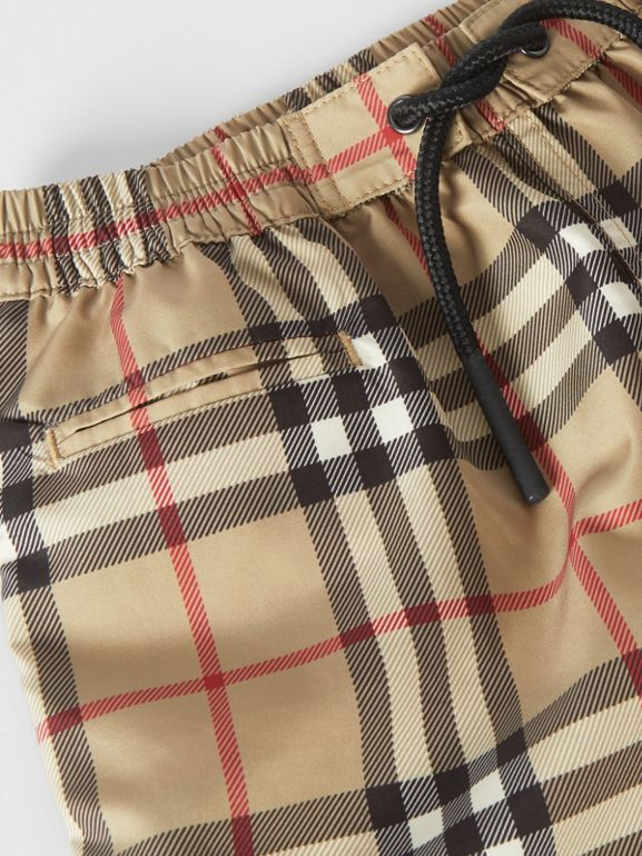 Logo Appliqué Vintage Check Swim Shorts in Archive Beige - Children | Burberry United States - cell image 1