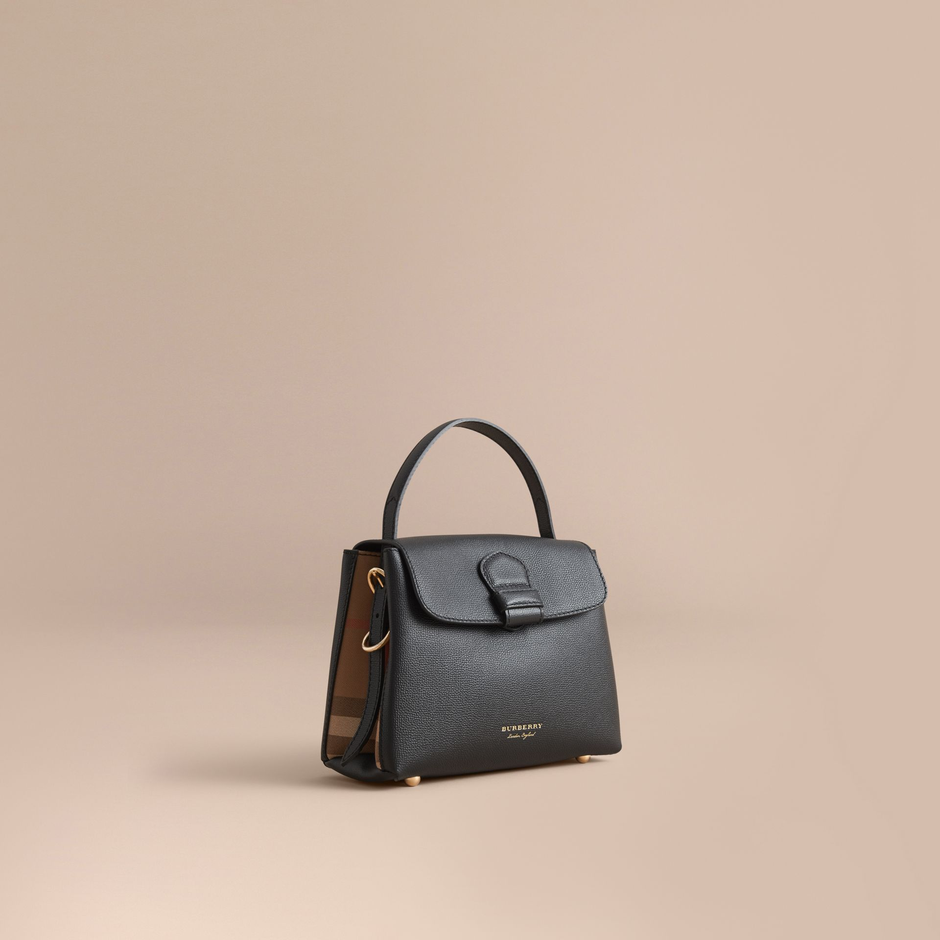 Small Grainy Leather and House Check Tote Bag Black - gallery image 1