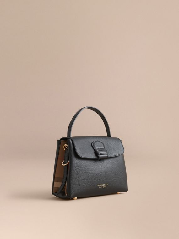 Small Grainy Leather and House Check Tote Bag Black