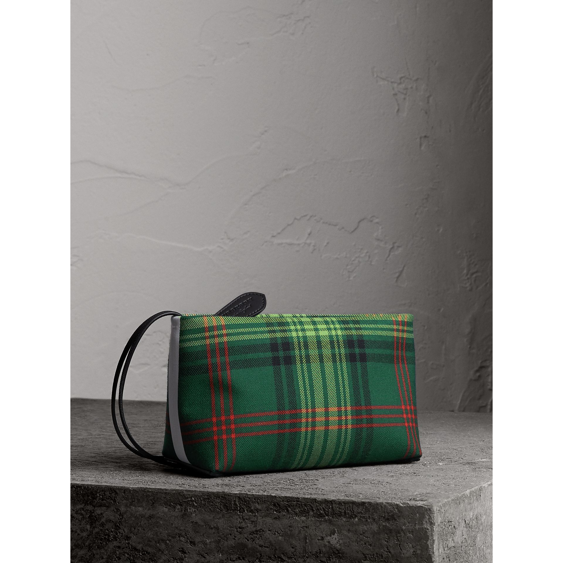 Tartan Cotton Clutch in Pine Green/blue | Burberry Australia - gallery image 1