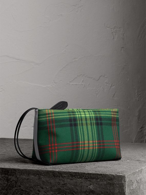 Tartan Cotton Clutch in Pine Green/blue
