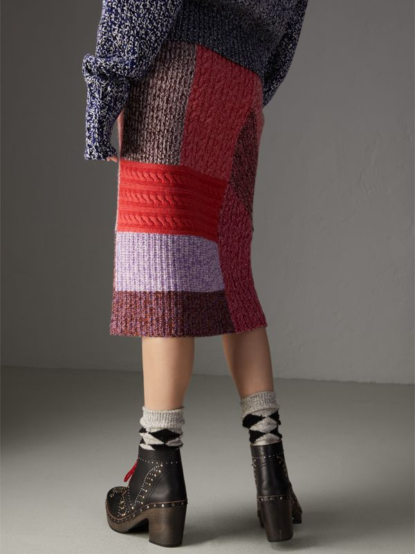 Cashmere-wool Mouliné Patchwork Skirt in Multicolour - Women | Burberry - cell image 2